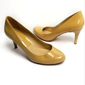 Michael Kors Patent Leather Nude Round Toe Pumps